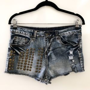 High Waisted Acid Wash Studded Denim Jean Shorts